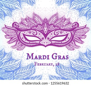 White background with blue silhouette branches and carnival mask. Invitation card for Mardi Gras. New Orleans. Background with frost pattern.