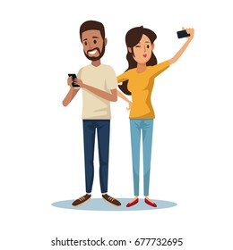 white background with brunette guy and woman taking a selfie social network communication