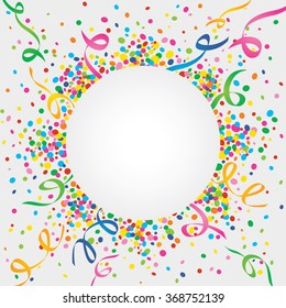 White background of carnival with many confetti and streamers