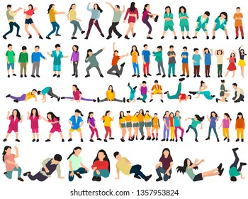 white background, a collection of dancing people, without a face