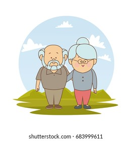 white background with color silhouette landscape with asian elderly couple