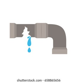 white background with color silhouette of water pipe broken vector illustration