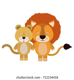 white background with colorful caricature couple cute lion and lioness animals vector illustration