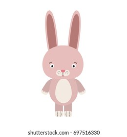 white background with colorful caricature cute rabbit animal vector illustration