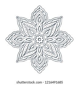 White background with  cut out paper snowflakes. Vector illustration.