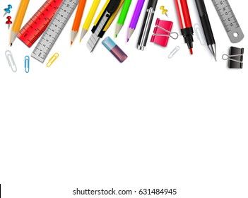White background with different stationery items realistic vector illustration