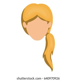 white background of faceless woman blonde with ponytail hair style vector illustration
