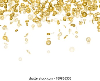 White background with falling gold bitcoins. Vector money illustration.