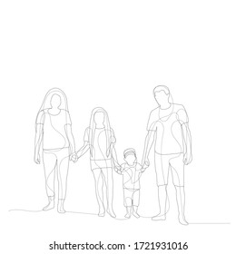 white background, family line drawing, sketch