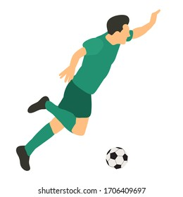 white background, in a flat style soccer player