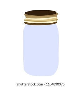 white background, glass jar with lid