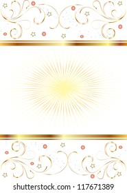 White background with gold and stars. Celebratory white background with a streamer  with gold patterns. 10 EPS.