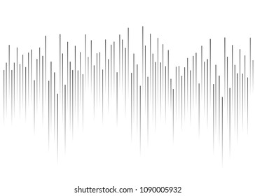White background with grey lines. Vertical black gradient bands in the middle in the form of graphics, cardiograms, running bands. Music soundtrack, soundwaves.