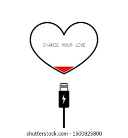 White background with heart shape low battery level and charging cable