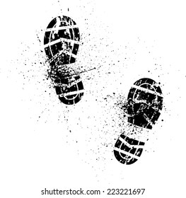 White background with ink splash and shoes prints. eps10