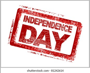 white background with isolated stamp for 4th July or 15th August Independence day