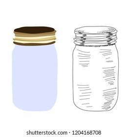 white background, a jar with a lid