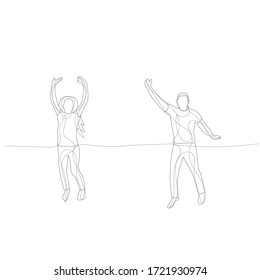white background, a line drawing of a man jumping