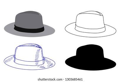 white background, male hat headdress, sketch