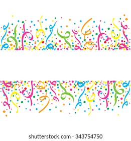 White background with many colorful confetti and streamers
