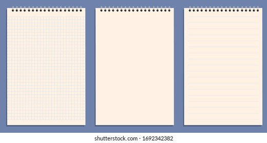 The white background of a notebook sheet to write a message.