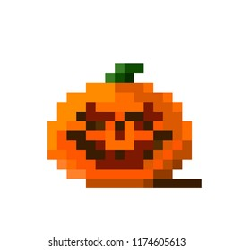 White background with orange pixel pumkin. Pixel art halloween pumpkin wit spooky face on white background.