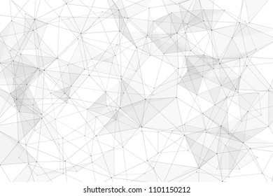 White background with points connected by lines and triangles. Polygonal (low poly) mesh/lattice structure. Vector