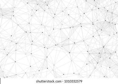 White background with points, lines and triangles polygonal mesh structure