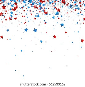 White background with red, white, blue stars. Vector illustration.
