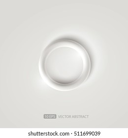 White background with a ring. Vector 3D.