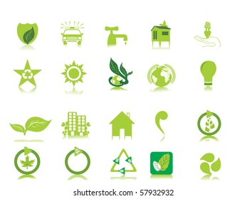 white background with set of glossy icons, vector illustration