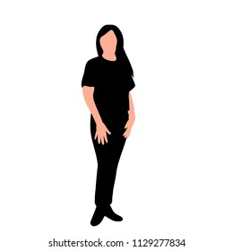 white background, silhouette girl