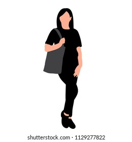 white background, silhouette of girl with bag, posing