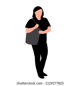white background, silhouette of girl with bag