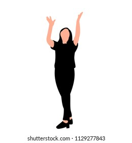 white background, silhouette girl is happy
