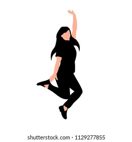 white background, silhouette girl jumping