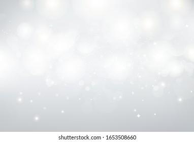 White background, silver stars sparkle glittery Bokeh, celebration luxury backdrop vector illustration