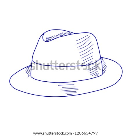 White Background Sketch Handle Mans Hat Stock Vector (Royalty Free ... 81cb64577a4