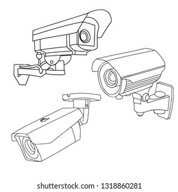 security camera sketch images stock photos vectors shutterstock HDBaseT Diagram white background sketch surveillance camera collection set