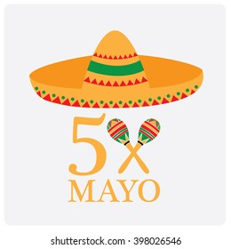 White background with text, a hat and a pair of shakers. Cinco de Mayo background.