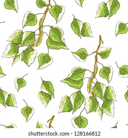 White background texture with birch leaves and branches