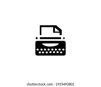 white background typewriter icon. vector - EPS 10 - illustration