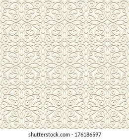 White background, vintage ornament, vector seamless pattern in light color