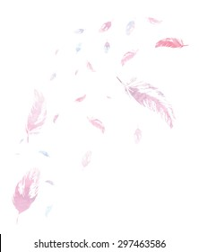 White background with watercolor pink and blue feathers