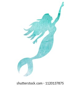 white background, watercolor silhouette mermaid