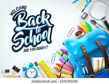 White Background Welcome Back Banner with Blue Backpack and Supplies Like Notebook, Pen, Pencil, Colors, Ruler, Magnifying Glass, Eraser, Paper Clip, Sharpener, Alarm Clock