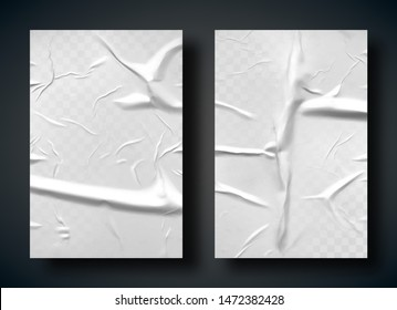 White bad glued paper realistic vector illustration. Set of wet wrinkled and creased paper sheets with crumpled texture, blank posters glued to street wall or advertising column, mock up for design