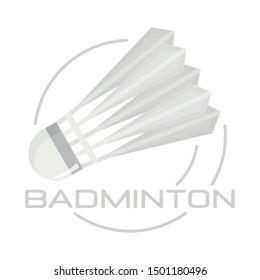 White badminton shuttlecock logo. Flat illustration of white badminton shuttlecock vector logo for web design