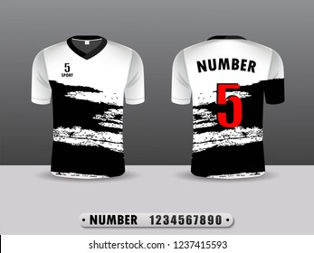 White and balck football club t-shirt sport  template design. Inspired by the abstract. Front and back view. Vector Illustration EPS10.