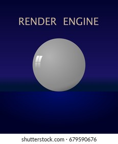 White ball with a glare in the style of 3D graphics. On a beautiful blue background. The inscription above: the render engine. vector.